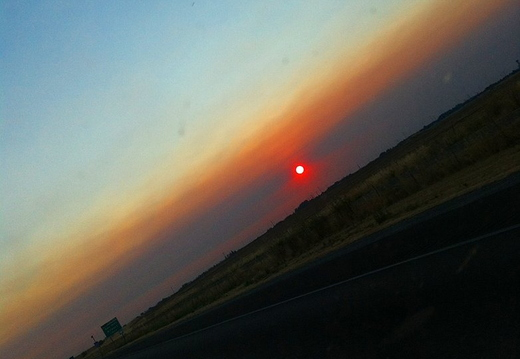smokey sunset north of sacramento